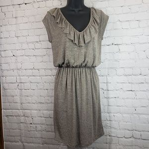My story grey dress with open back and ruffles